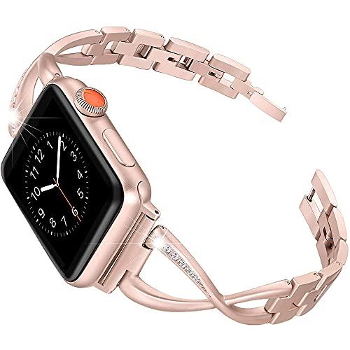 Banda de Acero Inoxidable Compatible Apple Watch Band 38mm 40 mm Mujeres Hombres Iwatch Series 5/4/3/2/1 Accesorios Accesorios de Pulsera de Metal Correa Deportiva,Rose Gold,38mm/40mm