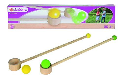 Eichhorn 100004543 - Buntes Balancier-Spiel; enthält 2 Balancierstäbe mit 2 Schwierigkeitsstufen, 2 Sprungbälle, Nutzung für innen sowie für draußen, Birkenholz