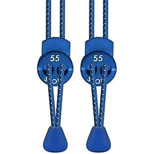 55 Sport Elastic Lock Shoelaces For Running & Triathlon, Blue