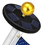 Solar Flag Pole Light 111 led Light, Super Bright Flag Pole LED, Solar Powered Flag Pole Lights for Longest Lasting Upto 10 Hrs, LED Downlight up Flag on Most 15 to 25Ft 100% Flag Coverage LED(Black)