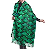 Autumn Winter Scarf for Woman Girl Ladies, Green Mermaid Scales Print Cashmere Feel Large Pashmina Shawl Cape with Tassel, Super Soft Blanket Travel Scarf for Daily Wear