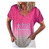 T-Shirt Pullover da Donna con Stampa Sfumata Moda Manica Corta con Scollo a V Stampa Lettera (XL,4Rosso)