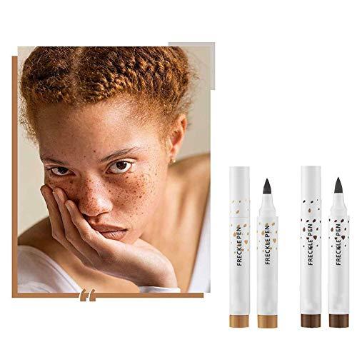 youfenghui 2 Stück Faux Freckles Makeup Pen, Weicher Brauner Sommersprossenstift, Sommersprossenstift Makeup, Magic Natural Lifelike Freckle Pen, Wasserdichter Dot Spot Pen, Soft Lasting