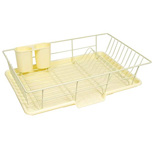 """Sweet Home Collection 3 Piece Dish Drainer Rack Set with Drying Board and Utensil Holder, 12"""" x 19"""" x 5"""", Yellow"""