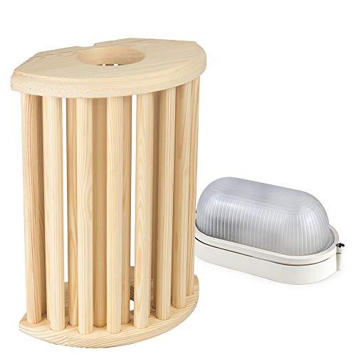 Sauna Beleuchtung Set Lampenschirm Sawo 915-VP aus Kiefer mit E27 IP54 Saunalampe und 5m Silikonkabel SiHF