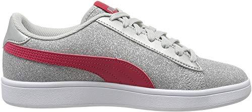 Puma Puma Smash v2 Glitz Glam Jr Sneaker Mädchen, Grau (Puma Silver-Nrgy Rose-Gray Violet 13), 39 EU