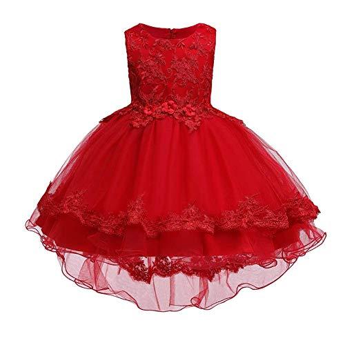 IMEKIS Vestido de niña de flores con tutú, sin mangas, bordado, tul, vestido de noche, princesa, vokuhila, fiesta, cumpleaños, bautizo, boda, fiesta, fiesta, vestido elegante rojo 3-4 Años