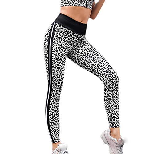 Xmiral Pants Donna,Leggings Sportivi,Leggings da Allenamento per Pantaloni da Yoga Flessibili da Donna a Vita Alta Leggings Elastico S bianco