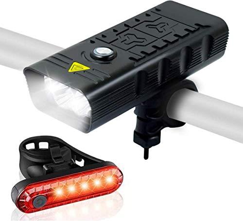 Wasafire Luces de Bicicleta, 4000 Lúmenes 5 LED 9500 mAh 6 Horas de Tiempo de Trabajo Faro de Bicicleta, 4 Modos Luces Delanteras de Bicicleta de Montaña de Carretera Impermeables