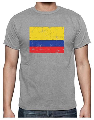 Green Turtle Camiseta para Hombre - Bandera de Colombia en Estilo Retro Vintage Medium Gris