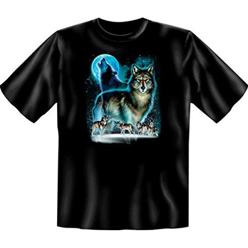 Indianistik T-Shirt auch in Übergröße Wolf Moon Silhouette Gr 5XL in schwarz
