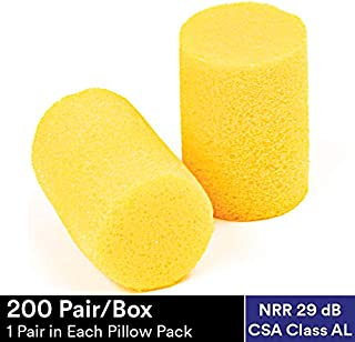 3M Ear Plugs, E-A-R Classic 310-1060, Foam, Uncorded, Disposable, For Drilling, Grinding, Machining, Sawing, Sanding, Welding, 1 Pair/Pillow Pack, 30 Pairs/Box