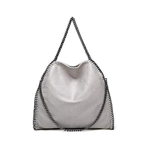 Liansheng Bolso del Hombro de la Moda de Las Mujeres, Bolso Diagonal de Cadena del Bolso de Las señoras de Gran tamaño (Color : Gray)