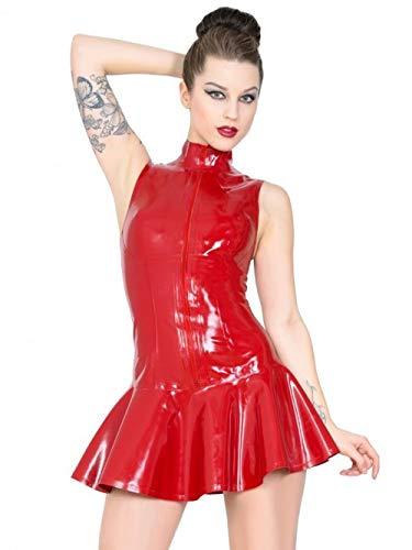 XDB Mujer Wetlook Vestido de Cuero PVC Clubwear Vestido Sexy Fiesta de gallina Cremallera Frontal Mini Night Club Vestido de Fiesta Bodycon Plus Size S-5XL (Red,4XL)