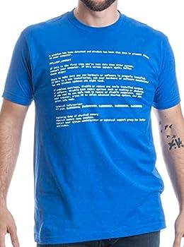 BLUE SCREEN OF DEATH Adult Unisex T-shirt / Geeky Windows Error Nerd Computer Tee Shirt L