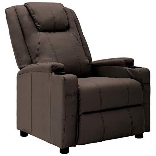 vidaXL Liegesessel Fernsehsessel Relaxsessel TV Sessel Ruhesessel Polstersessel Relaxliege Liegestuhl Lounge Ledersessel Braun Kunstleder