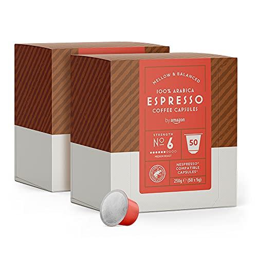 by Amazon Cápsulas Espresso, compatibles con Nespresso - 100 cápsulas (2 x 50)