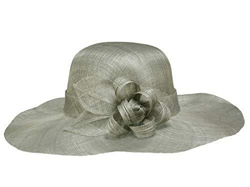 Seeberger Damenhut mit breiter Krempe aus Sinamay Stroh - Hellgrau (15) - One Size