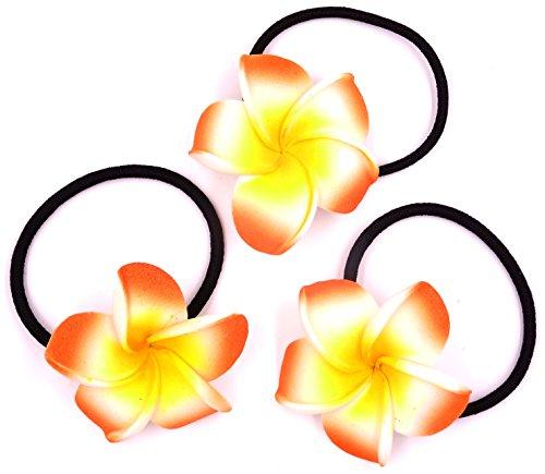 Made in zen Lot de 3 Élastique à Cheveux Fleur Hair Elastic Flower Tiaré Vahiné Tahiti Orange
