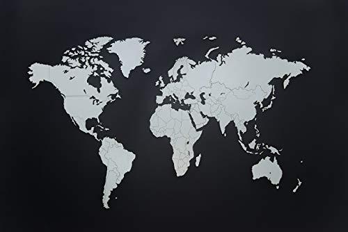 MiMi Innovations - Decoración de pared de mapa del mundo de madera de lujo 130 x 78 cm - Blanco