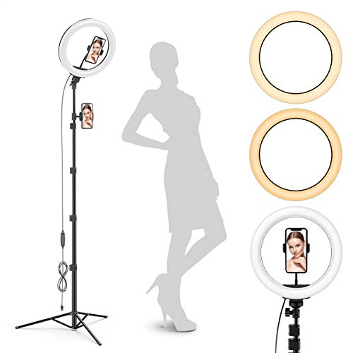 "Radiance 10"" Ring Light with Tripod Stand (74"" Tall) - Dual Phone Holders, 3 Lighting, Selfie Circle LED Lights Ringlight for Video Recording, Conference, Makeup, iPhone, Laptop, Computer, Webcam"