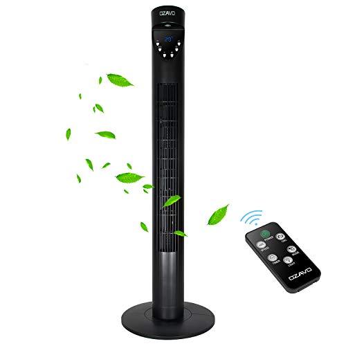OZAVO Turmventilator mit Fernbedienung und LED-Display, 3 Geschwindigkeitsstufen Fan, Standventilator mit Timer, 70° Oszillation Säulenventilator, 3 Betriebsmodi Ventilator, 50W, 93.6cm, Schwarz