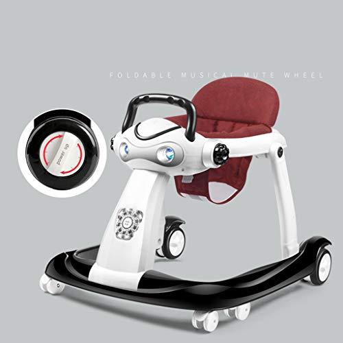 Trotteur bébé, 6-18 Mois Anti-Renversement Pliable de bébé Peut s'asseoir Ahd Push Walker Deux Modes d'enfant en Bas âge (Couleur : Noir)