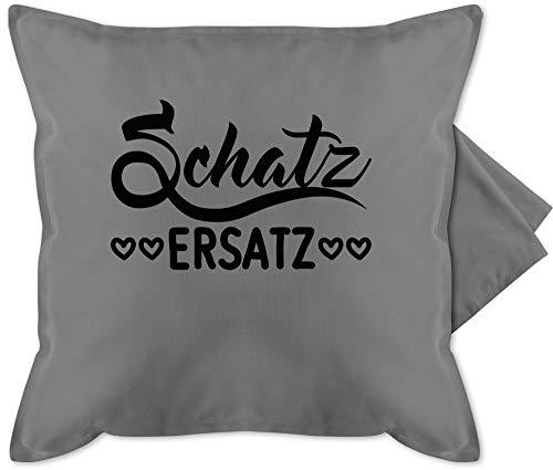 Shirtracer Valentinstag Kissen - Schatzersatz - schwarz - Unisize - Grau - Geschenk - GURLI Kissenhülle - Kissenbezug 50x50 cm und Dekokissen Bezug