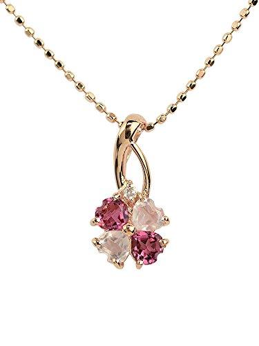 [四葉のクローバー] ピンクトルマリン ローズクォーツ ダイヤモンド 10金 クローバー ネックレス 40cm K10 ピンクゴールド 10月 誕生石 女性:Ma316