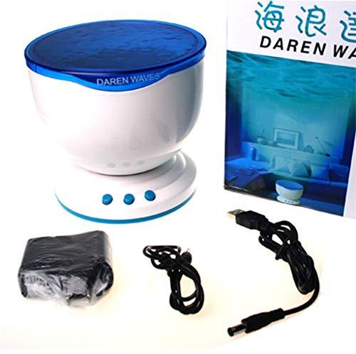 Projektorlampe Schlaf LED Nachtlicht Lampe Ocean Wave Beamerlampe entspannende Lichtshow Erwachsene Stimmungslicht für Baby Kinderzimmer Schlafzimmer Wohnzimmer (Weiß)