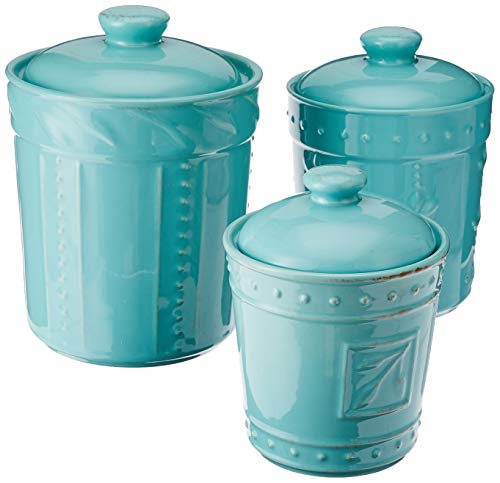 Signature Housewares Sorrento Collection Set of Three Canisters, 80 Ounce, 48 Ounce, 36 Ounce, Aqua