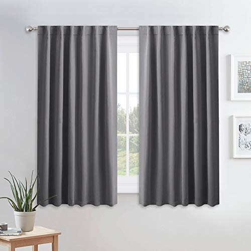 PONY DANCE Blackout Window Curtains - Gray Double Panels Back Tab & Rod Pocket Thermal Insulated Short Drapes for Kitchen Bedroom, 52 Wide x 45 Long Per Panel, Dark Grey, 2 Pieces