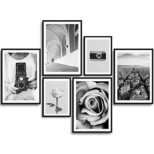 MONOKO® Premium Poster Wohnzimmer Bilder Set 6 Motive als stilvolle Wanddeko (Set Schwarz-Weiss, Kamera, Rose, 4X A4   2X A5)