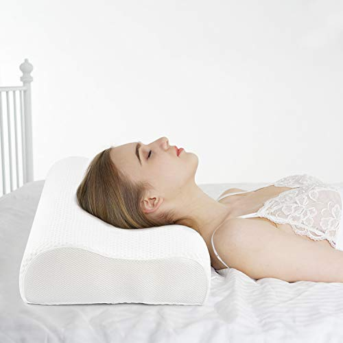 Power of Nature Memory Foam Pillow for Sleeping, Orthopedic Contour Cervical Pillow for Neck, Shoulder Pain, Pillows for Back Stomach Side Sleeper with Washable Breathable Cover- Small