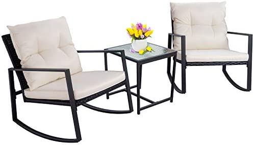 Best Walsunny 3 Pieces Patio Set Outdoor Wicker Patio Furniture Sets Modern Rocking Bistro Set Rattan Cha