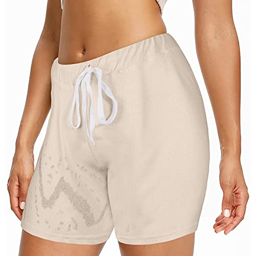 Pantalón Corto Deporte Mujer de Color Sólido Shorts Deportivos con Cordón Ajustables Pantalones Cortos Mujer Suelta y Transpirables Pantalon Mujer Casual Verano Ideal para Correr Gym Fitness