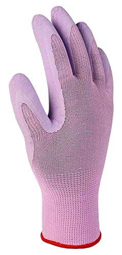Xclou Gartenhandschuhe mit Gummi-Beschichtung in Lila, Arbeitshandschuhe M / Größe 8, Gummihandschuhe für die Gartenarbeit, Schutzhandschuhe mit Strickbund für den Garten