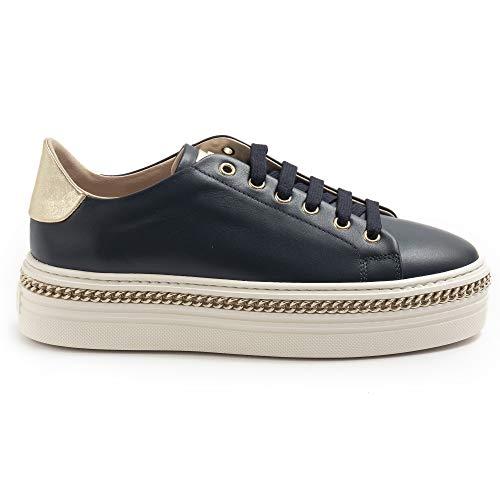 Stokton Damen Sneaker 674 Blau mit Goldkette - 674D Kalb Navy Blau - Gr., Blau - blau - Größe: 38 EU
