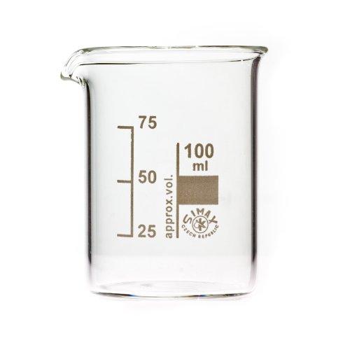 SIMAX Bechergläser, Becherglas 100 ml niedere Form, mit Ausguss, graduiert