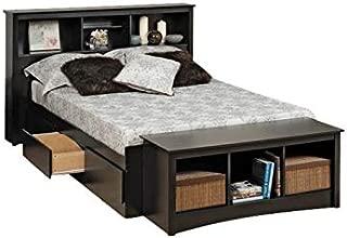 BOWERY HILL Queen Bookcase Platform Storage Bed