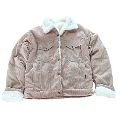 SUNMM Winterjacken Für Damen Dicke, Mit Pelz Gefütterte Mäntel Fashion Faux Fur-Lined Cordjacken Cute Coats, XXL