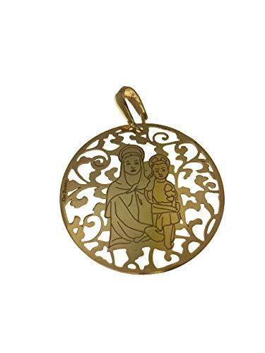Medalla Virgen del Amor Hermoso en Plata de Ley Cubierta de Oro de 18kt