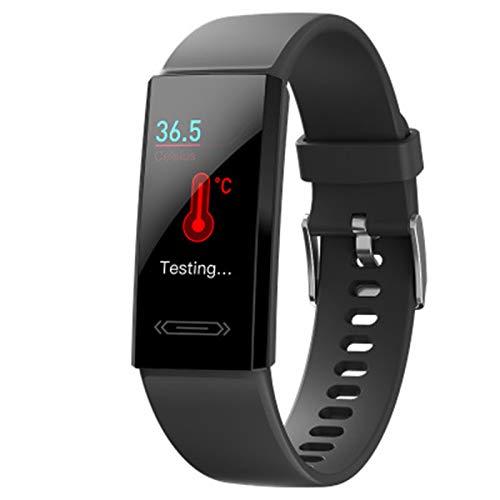 XYZK Deportes Smart Pulsera Temperatura Tarifa Cardíaca Monitoreo del Sueño Monitoreo IP68 Pedómetro De Reloj A Prueba De Agua Pulsera Inteligente Pulsera V100S para Android iOS,A