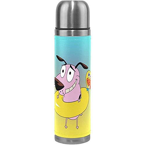 Like-like Perro Cobarde Ciclismo de Dibujos Animados Aislamiento al vacío Frasco de Termo para Mujer Botellas de Agua de Acero Inoxidable + Copa de Bebida + Cubierta de Cuero para 500 ml