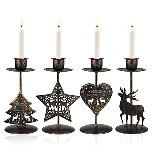 Gukasxi - Set di 4 portacandele in metallo, per candele natalizie, centrotavola, portacandele