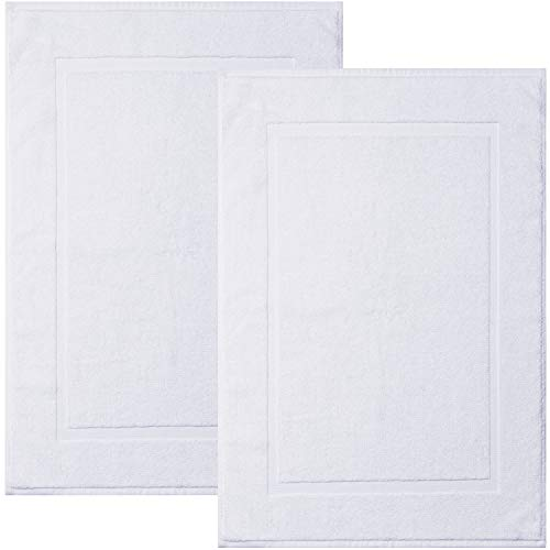 Alibi Towel Bath Mats | 2 Pack | Hotel & Spa Shower Step Out Floor Towels [NOT a Bathroom Rug] - White 20 X 30