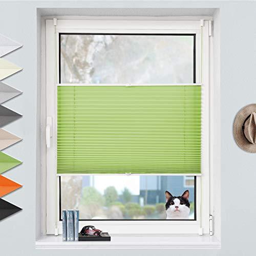 Grandekor Plissee Klemmfix Plisseerollo ohne Bohren (80x120cm Grün), Fensterrollo Faltrollo Easyfix lichtdurchlässig Sicht- & Sonnenschutz für Fenster & Tür