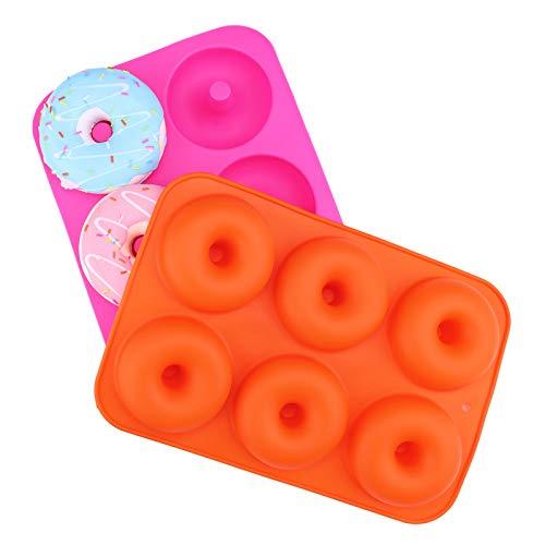 Designerbox Lot de 2 moules à donuts En silicone Sécuritaires Anti-adhésifs Moule à Cake Pleine grandeur Forme parfaite de donuts Orange & Rose Red