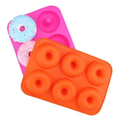 2-Pack Donut Pan Set, DesignerBox Silicone Doughnuts Tin Safe Baking Tray Maker Pan, Non-Stick Cake Mold, Easy to Bake Full Size Perfect Shaped Donuts to Sweeten Your'Hole' Day (Orange & Rose red)