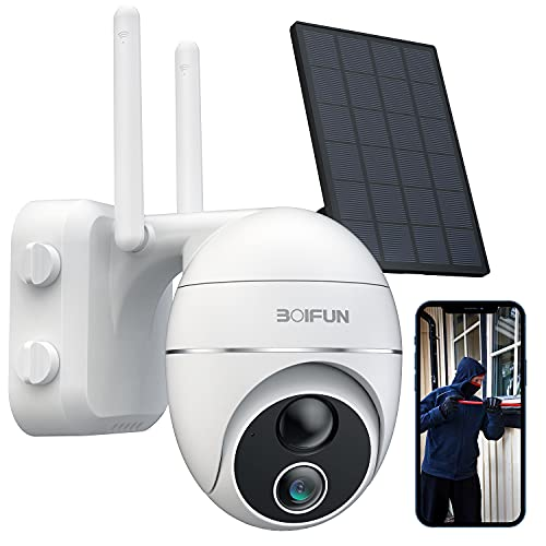 Solar Security Camera Outdoor, Wireless WiFi 360° PTZ Camera outdoor, 15000mAh Battery Solar Powered Security Cameras with 1080P Night Vision, PIR Motion Detection, 2 Way Audio, IP65, SD/Cloud Storage